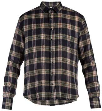 Saint Laurent Raw Edge Plaid Shirt - Mens - Blue