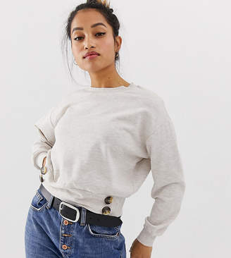 Asos DESIGN Petite batwing sweatshirt with buttons in oatmeal marl