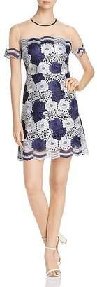 T Tahari Jolie Floral Lace Illusion Dress