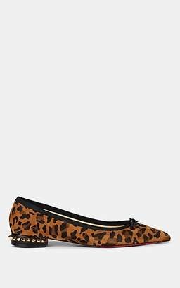 Christian Louboutin Women's Hall Spiked Leopard-Print Suede Flats - Version Caramel