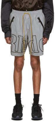 Rhude Grey and Black Logo Shorts