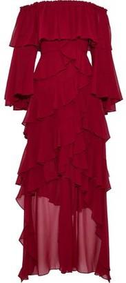 Badgley Mischka Off-the-shoulder Ruffled Chiffon Gown