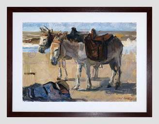 STUDY Wee Blue Coo Painting Animal Portrait Israels Two Donkeys Framed Art Print