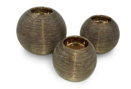 Drew DeRose Ceramic Spun Ball Votive Tea Light Holder Set of 3 Cognac 3