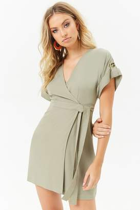 Forever 21 Cuffed-Sleeve Wrap Dress