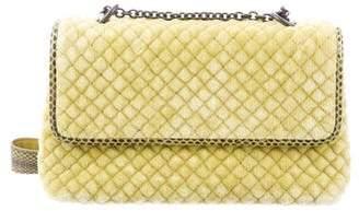 Bottega Veneta Snakeskin-Trimmed Olimpia Bag