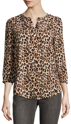 NYDJ 3/4-Sleeve Animal-Print Pleated-Back Blouse, Cheetah $88 thestylecure.com