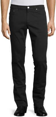 Versace Rope-Trim Straight-Leg Denim Jeans, Black
