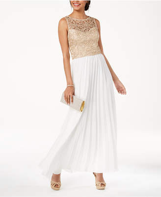 B. Darlin Juniors' Shine Lace Pleated-Skirt Gown