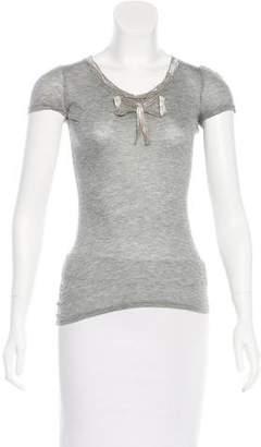 Paule Ka Cap Sleeve Bow-Accented Top