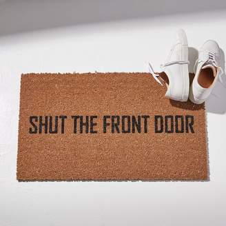 west elm Nickel Designs Hand-Painted Doormat - Shut The Front Door