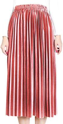 Aivtalk Retro Metallic Velvet Midi Dress for Female Spring Lightweight Soft Solid A-Line Elastic High Waist Pleated Skirt Size XL