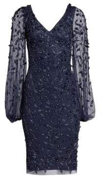 Theia Women's Embellished Sheer-Sleeve Cocktail Dress - Midnight - Size 2