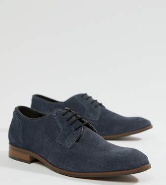 Dune Wide Fit Lace Up Suede Shoes In Navy Suede