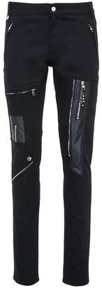 Alexander McQueen Leather zip panel biker jeans