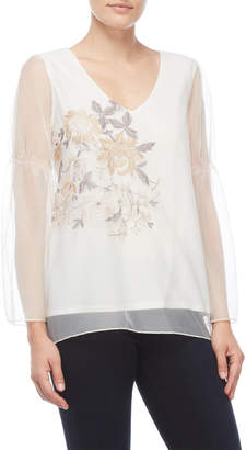 Chenault Petite Floral Embroidered Mesh Top