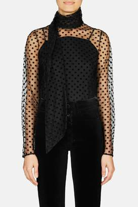 Erdem Yvonna Long Sleeve Top With Neck Sash - Black