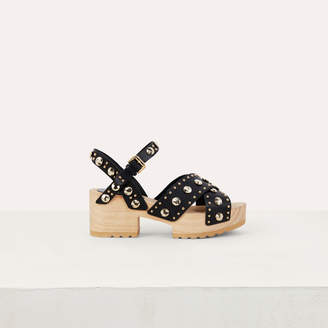 Maje Wood heel sandals with studs