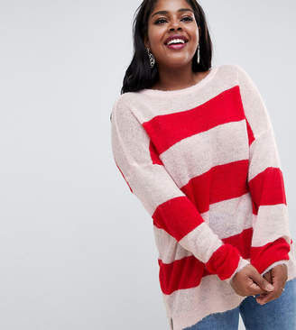 Glamorous Curve relaxed jumper in loose knit stripe