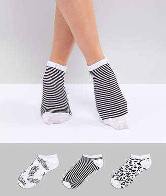 Fruit Cake Fruitcake Monochrome Printed 3 Pack Ankle Socks In Leopard And Feather