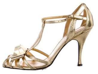 Sonia Rykiel Metallic T-Strap Sandals