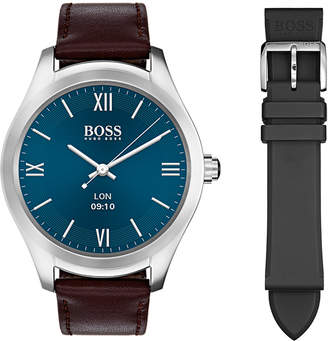 BOSS Hugo Men's Digital Touch Brown Leather Strap Touchscreen Smart Watch 46mm