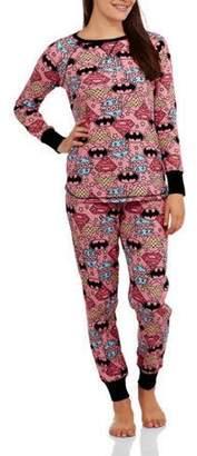 License Women's Pajama Thermal Sleep Top and Pant 2 Piece Sleepwear Set