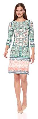 London Times Women's 3/4 Sleeve Matte Jersey Shift Dress