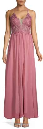 Betsy & Adam Embroidered Long Gown