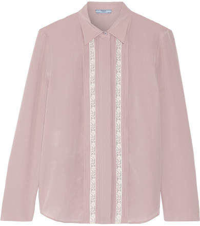 Prada - Lace-trimmed Silk Crepe De Chine Shirt - Beige