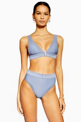 Topshop Blue Ribbed Button High Waist Bikini Bottoms