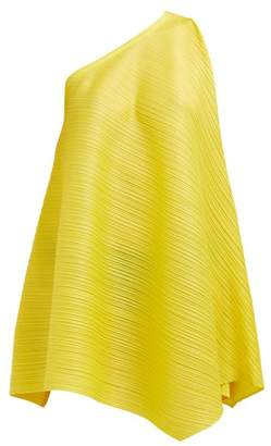 Pleats Please Issey Miyake One Shoulder Sleeveless Tech Pleated Dress - Womens - Yellow