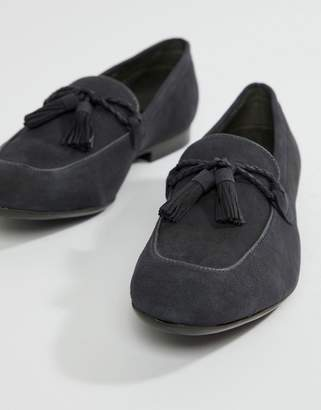 Dune Tassel Loafers In Navy Suede