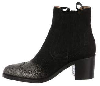 The Office of Angela Scott Glitter-Accented Ankle Boots