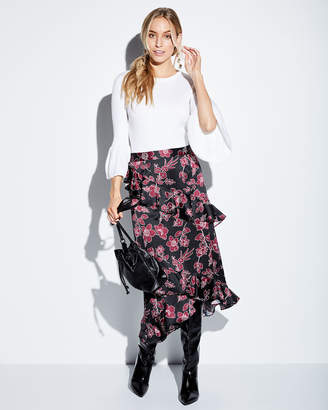 Tahari ASL Sky Glen-Check Bow-Waist Midi Skirt