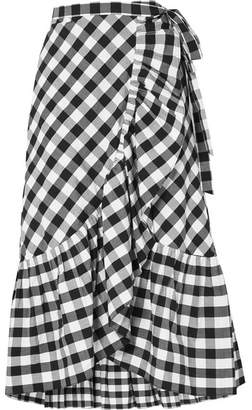 J.Crew Glo Ruffled Gingham Cotton-poplin Wrap Skirt - Black