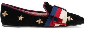 Gucci Embroidered velvet ballet flat with Sylvie bow