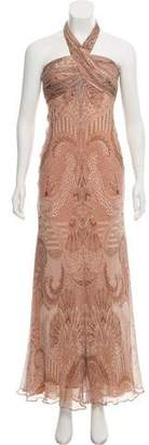 Carmen Marc Valvo Silk Paisley Print Dress
