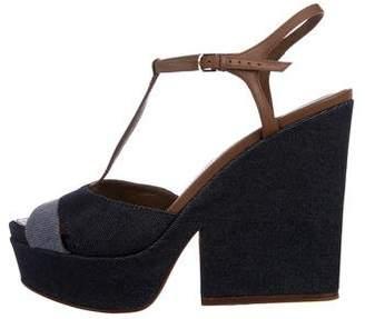 Sergio Rossi Denim Platform Sandals