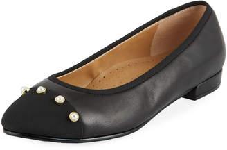 Neiman Marcus Unelma Cap-Toe Ballet Flats, Black