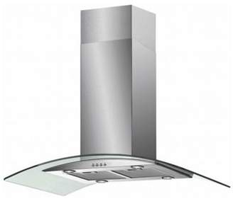 Baumatic Isl5Ss 90Cm Island Cooker Hood With Curved Glass Canopy Stainless Steel