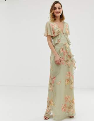 1c04b9486f11 Hope   Ivy ruffle floaty maxi dress with open back in sage green floral