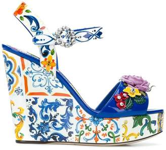 Dolce & Gabbana floral wedged sandals