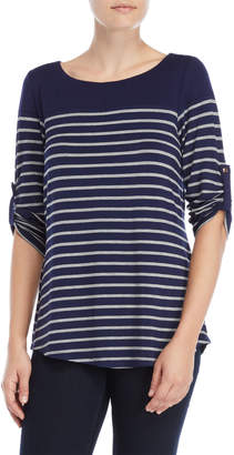 Cable & Gauge Stripe Bateau Neck Three-Quarter Sleeve Tee