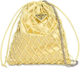 Prada Satin & Faux Leather Net Clutch