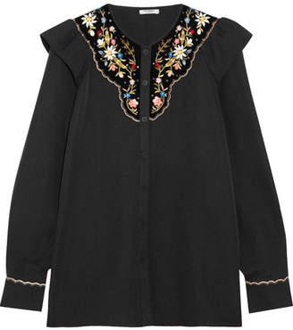 Vilshenko Marina Embroidered Velvet-paneled Cotton And Silk-blend Blouse - Black