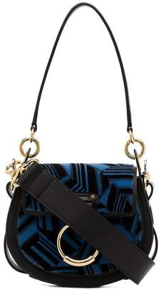 Chloé blue and black leather Tess Small Embroidered shoulder bag