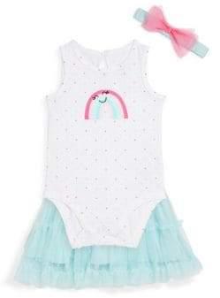 Baby Girl's Three-Piece Rainbow Cotton Bodysuit, Mesh Skirt and Bow Headband Set