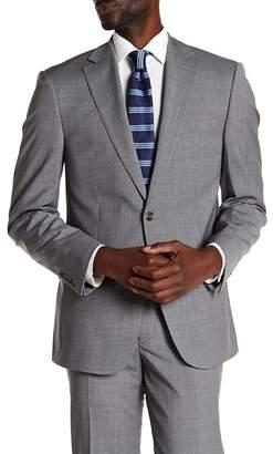 Calvin Klein Marby Fine Stripe Notch Collar Long Sleeve Slim Stretch Wool Jacket
