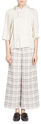 Isabel Marant Keneth Button-Front 3/4-Sleeves Silk Blouse